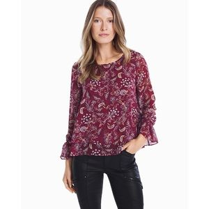 White House Black Market Long Sleeve Floral Blouse
